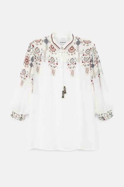Boho blouse pom poms