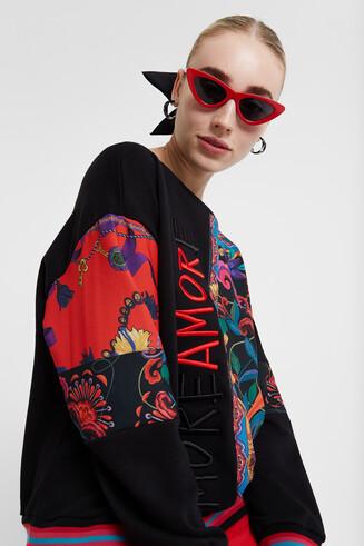 Soul mate print cotton sweatshirt
