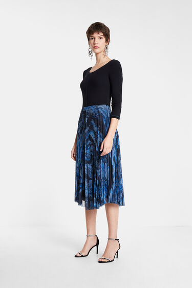 Pleated dress round neck | Desigual