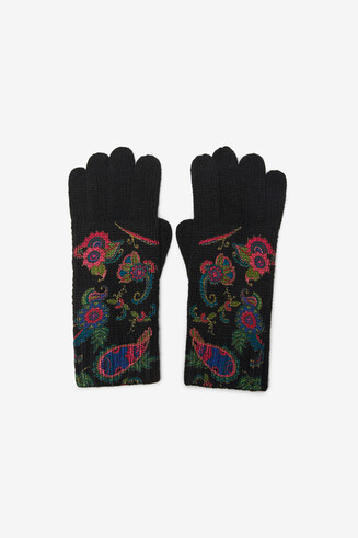 Boho knitted gloves