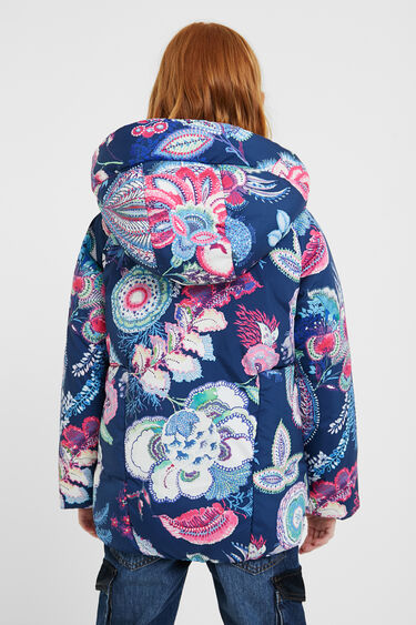 Padded jacket hood flowers | Desigual