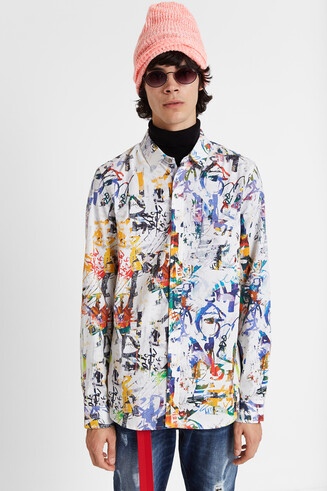 Shirt multicolour graffiti