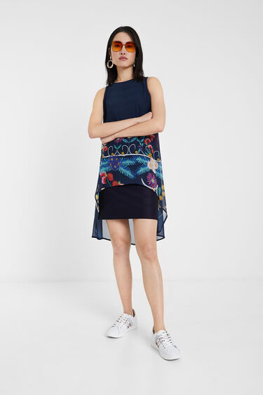 Multilayered and floral print dress | Desigual
