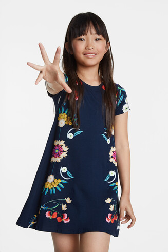 Flowing floral T-shirt dress