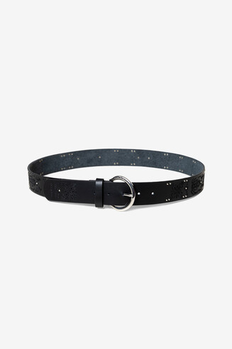 Floral and black leather belt