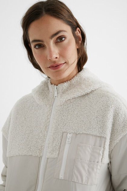 Padded jacket fleece hood