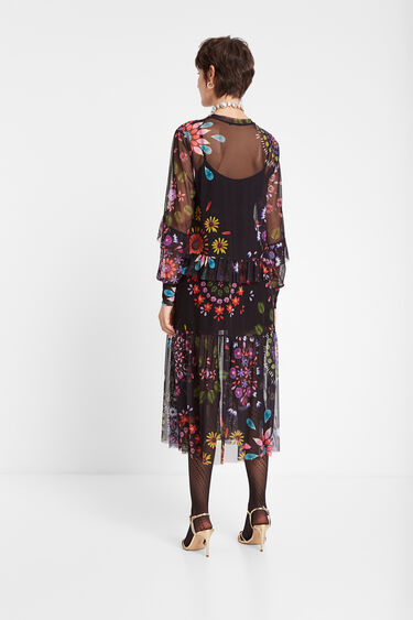 Long double layer dress with floral tulle | Desigual