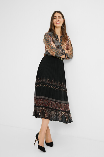 Boho pleated midi-skirt