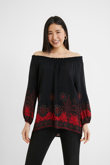 Boho-blouse met off-the-shoulder-hals