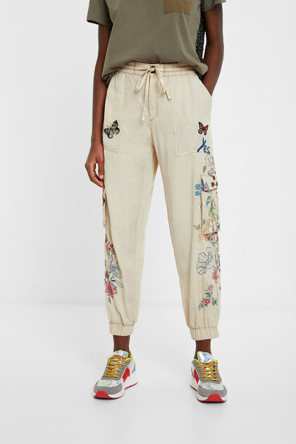 Floral cargo jogger trousers