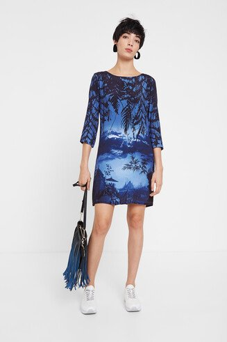 Oriental landscape T-shirt dress