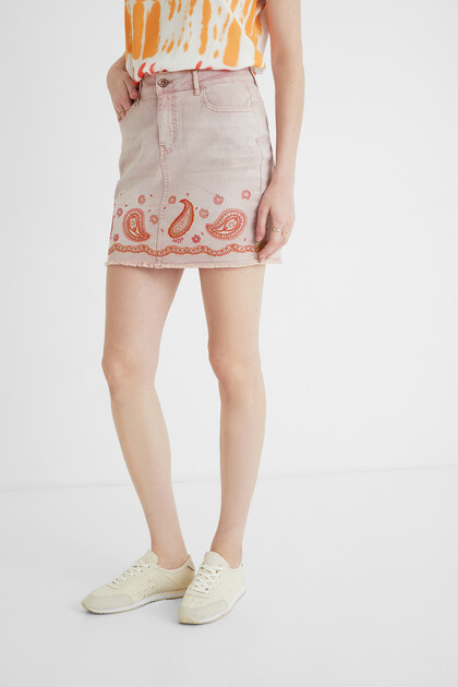 Short jean paisley skirt