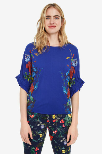 Ruched-sleeve T-shirt Kathy