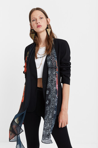 Blazer with floral scarf