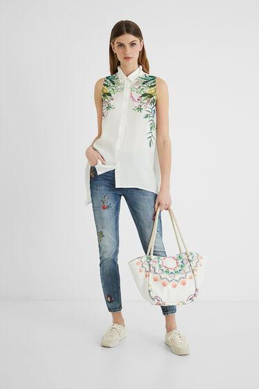 Sleeveless shirt asymmetric hem | Desigual