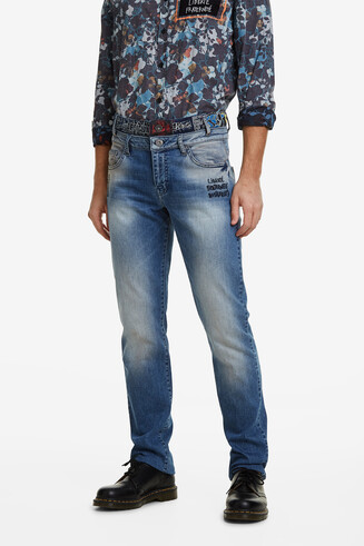 Jeans met dubbele taille