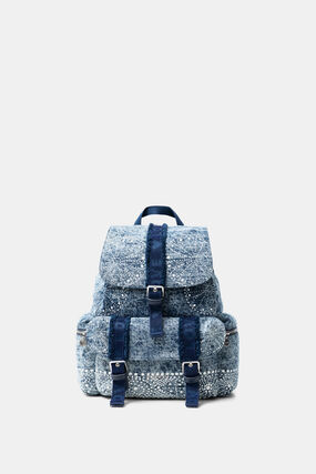Denim backpack with galactic mandalas