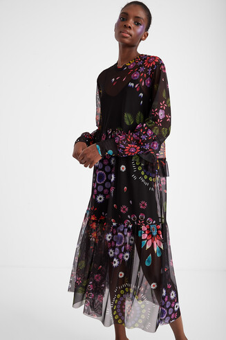 Long double layer dress with floral tulle