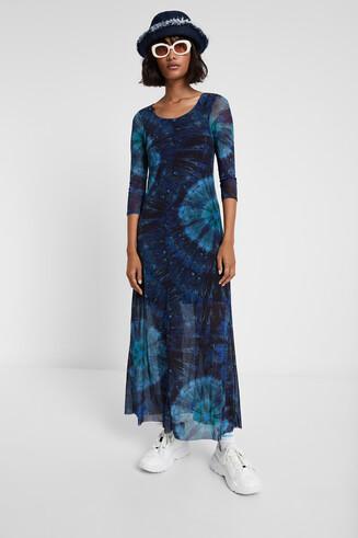 Long tie dye viscose dress