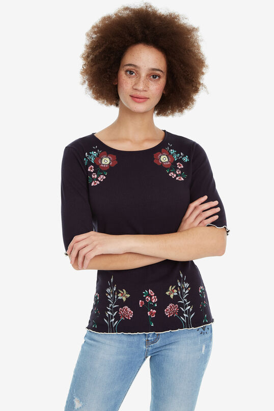 Gebloemd T-shirt strepen Secret Garden | Desigual