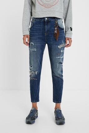 Jeans boyfriend strappi