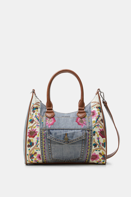 Floral denim bag