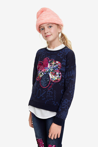 Camiseta flor lentejuelas reversibles