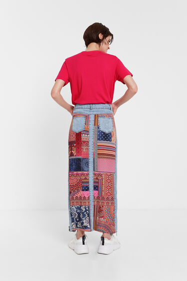 Floral T-shirt with knit mesh | Desigual