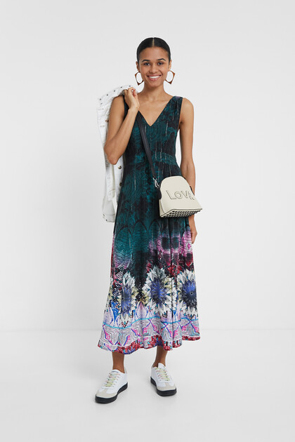 Long Lurex striped print dress