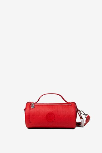 Red barrel bag in logomania