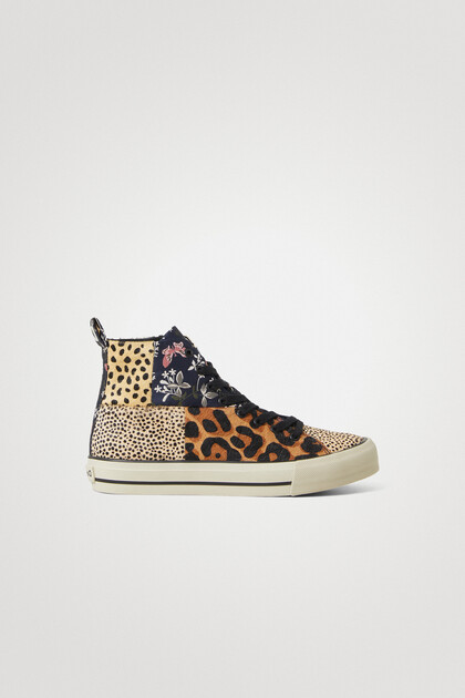 Leather patchwork high-top sneakers