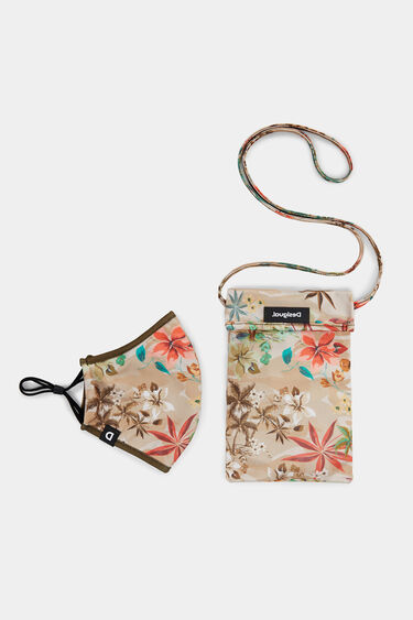 Camoflower reversible mask + pouch | Desigual