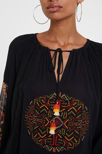 Ethnic blouse puffed sleeve