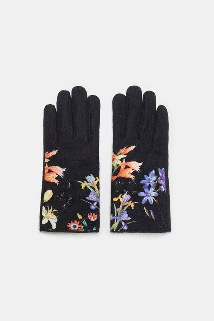 Gloves flowers and text
