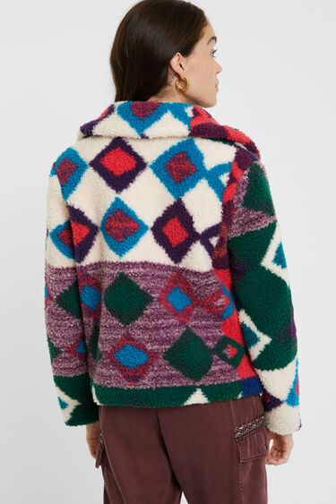 Short multicolour fur jacket | Desigual