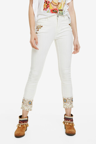 Boho-Jeans im Slim Fit Sari White