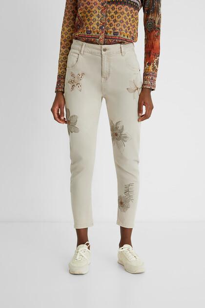 Pantalon slim chevilles fleurs