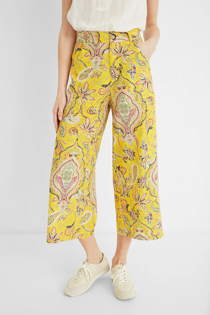 Cropped culotte trousers paisley
