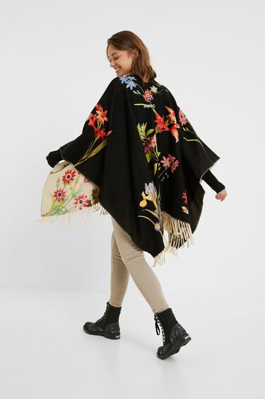 Reversible floral poncho | Desigual