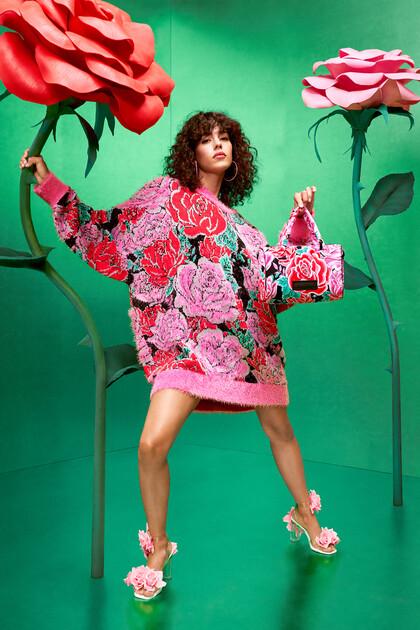 Floral oversize floral tricot jumper