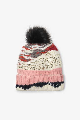 Knitted hat pom pom