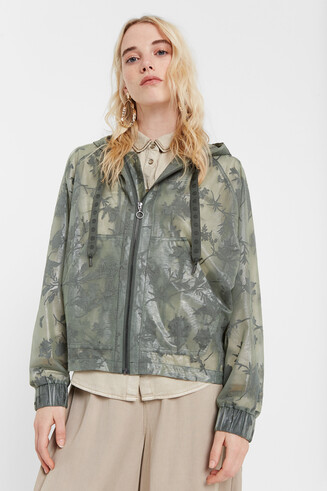 Floral transparent windbreaker