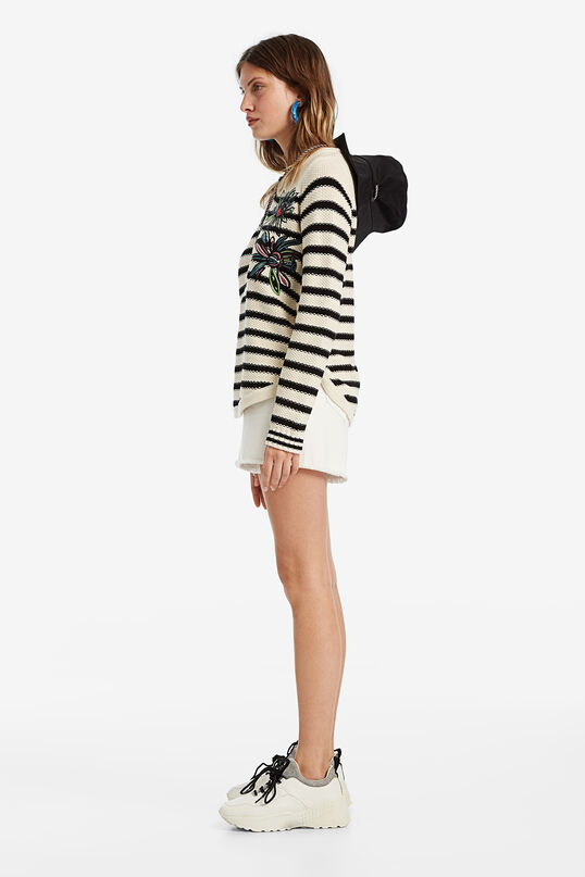 Striped jumper with floral embroidery   Desigual