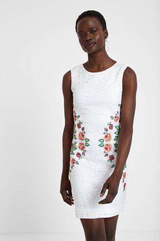 Slimfit jurk met borduursel Valeria