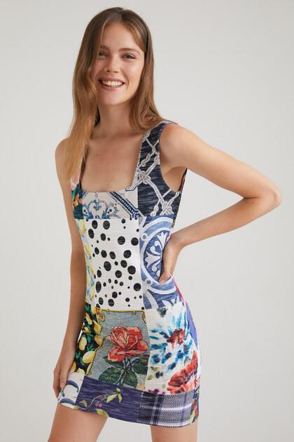 Kleid Slim Fit Patch quadratischer Ausschnitt