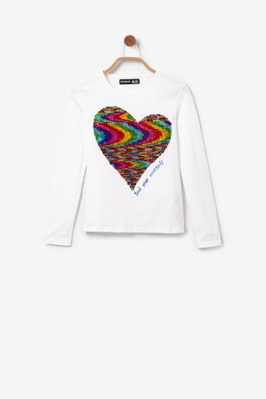 Maglietta cuore paillettes reversibili | Desigual