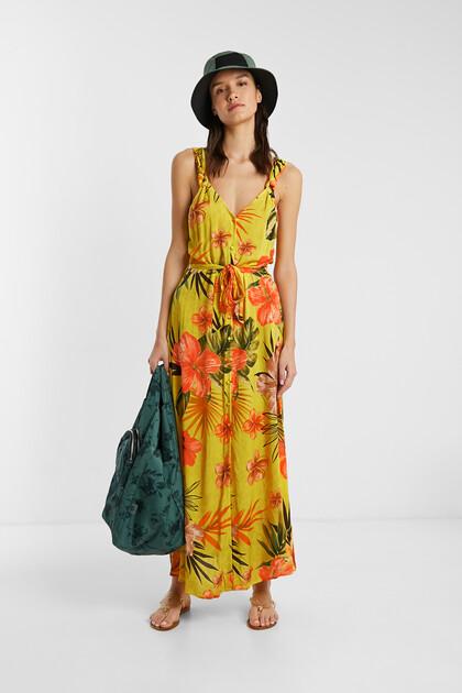 Lange milieuvriendelijke gebloemde jurk