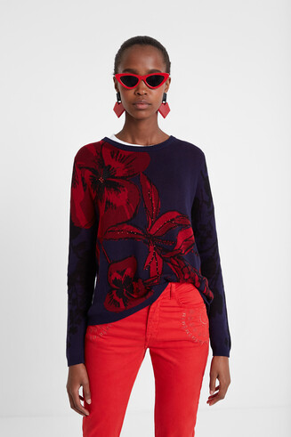 Floral jumper with rear opening