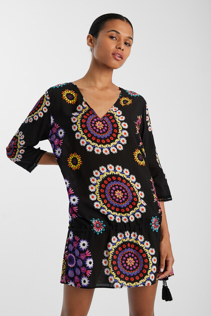 Beach top with floral mandalas