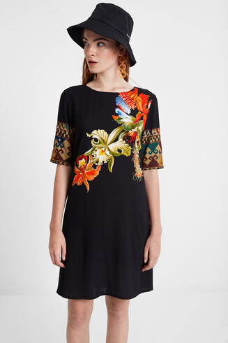 Viscose dress with 3/4 sleeves Designed by M. Christian Lacroix